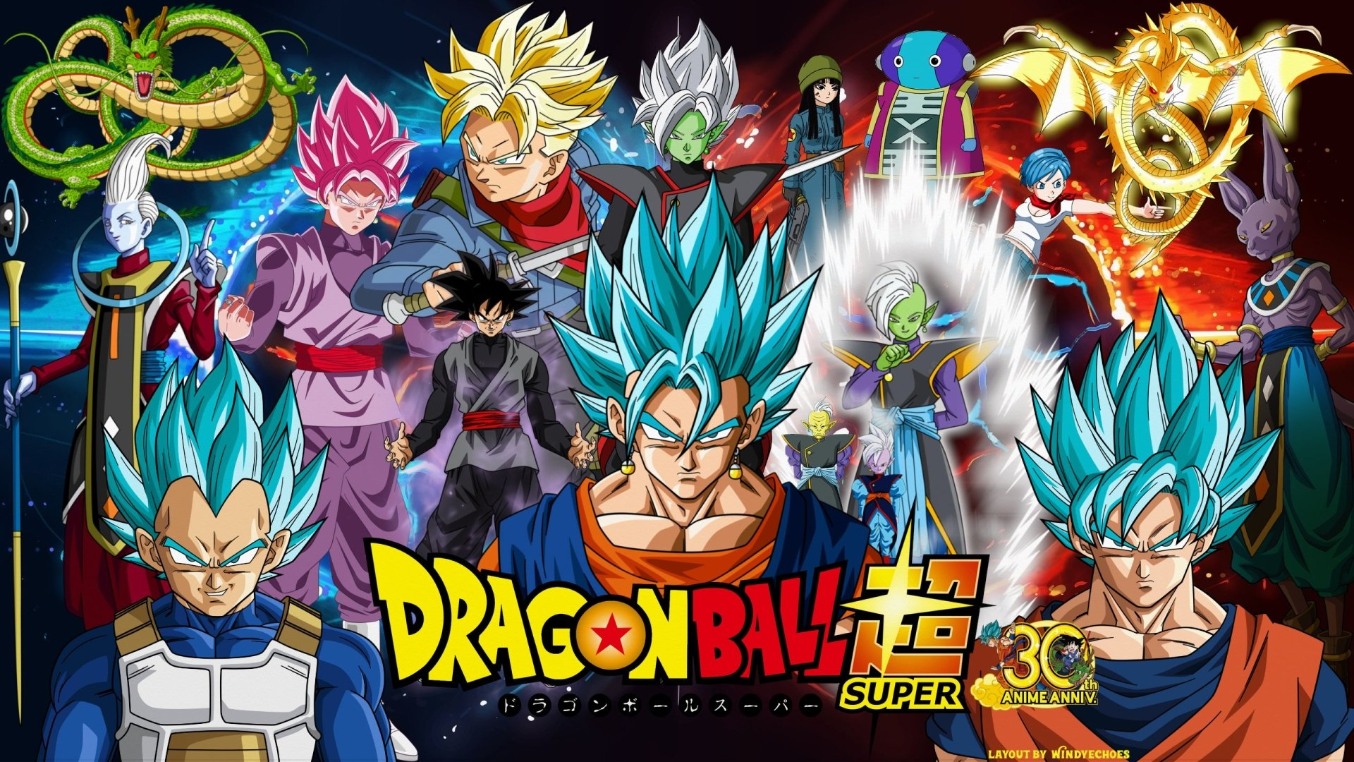 Anime - Dragon Ball Super  Goku Trunks (Dragon Ball) Vegeta (Dragon Ball) Bulma (Dragon Ball) Vegito (Dragon Ball) Beerus (Dragon Ball) Whis (Dragon Ball) Shenron (Dragon Ball) Supreme Kai (Dragon Ball) Mai (Dragon Ball) SSGSS Goku SSGSS Vegeta Black Goku Black (Dragon Ball) Zamasu (Dragon Ball) SSR Black SSGSS Vegito Zeno (Dragon Ball) Zarama (Dragon Ball) Gowasu (Dragon Ball) Wallpaper