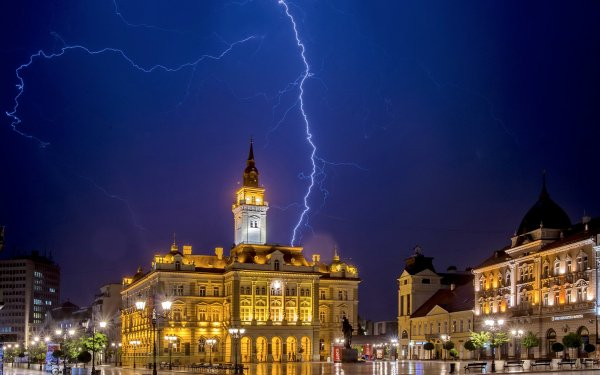 Photography Lightning Night Serbia Building Sky HD Wallpaper | Background Image