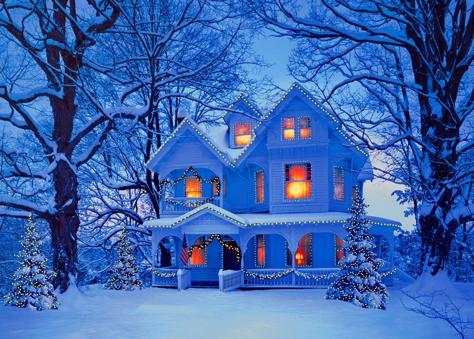 House at Christmastime Full HD Wallpaper and Background ...