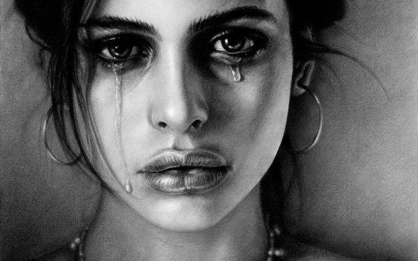 Artistic Painting Woman Sad Crying Face HD Wallpaper | Background Image