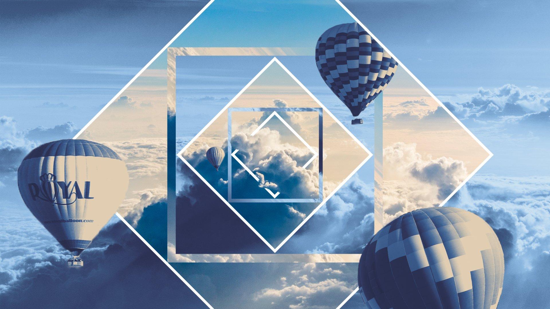 Artistic - Balloon  Hot Air Balloon Polyscape Sky Blue Cloud Wallpaper