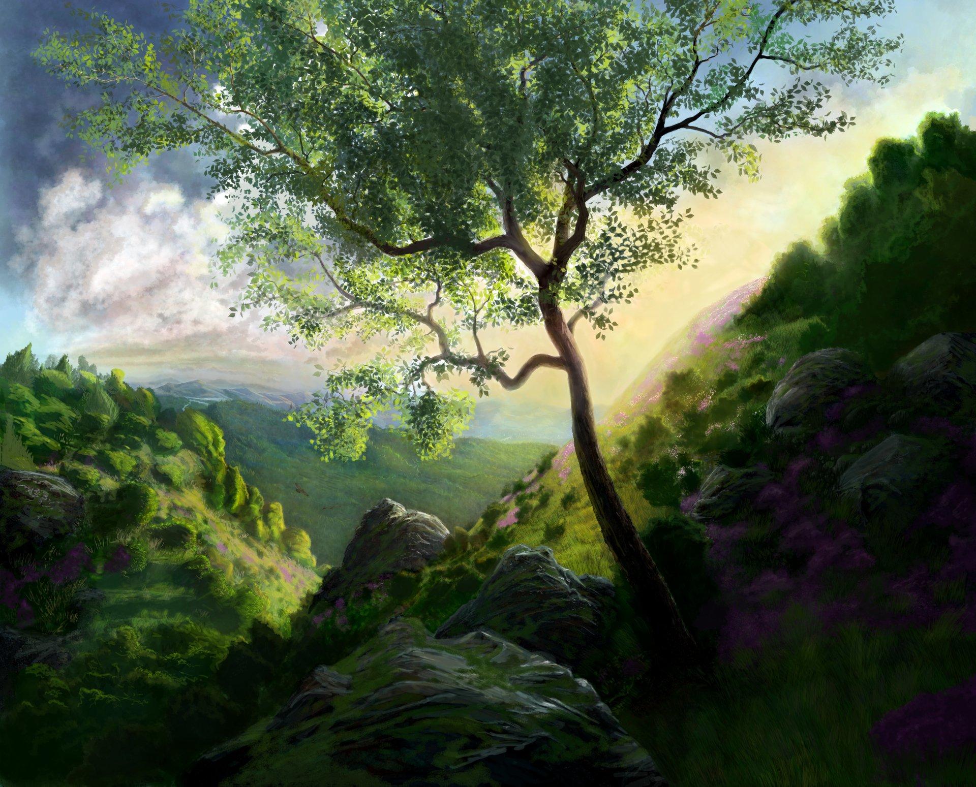 Artistique - Peinture  Vert Arbre Paysage Montagne Artistique Fond d'écran
