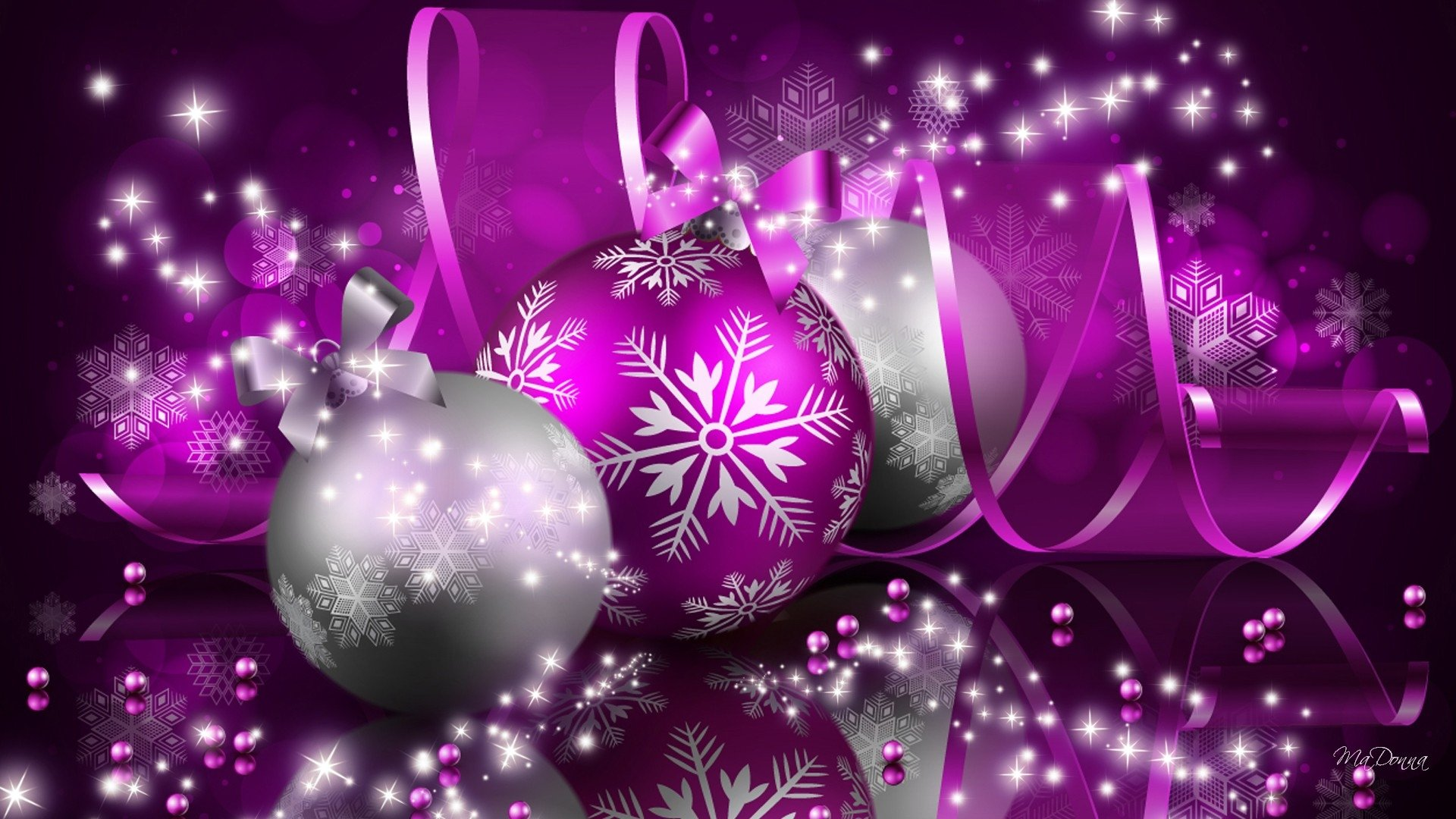 Silver And Purple Christmas Ornaments Hd Wallpaper