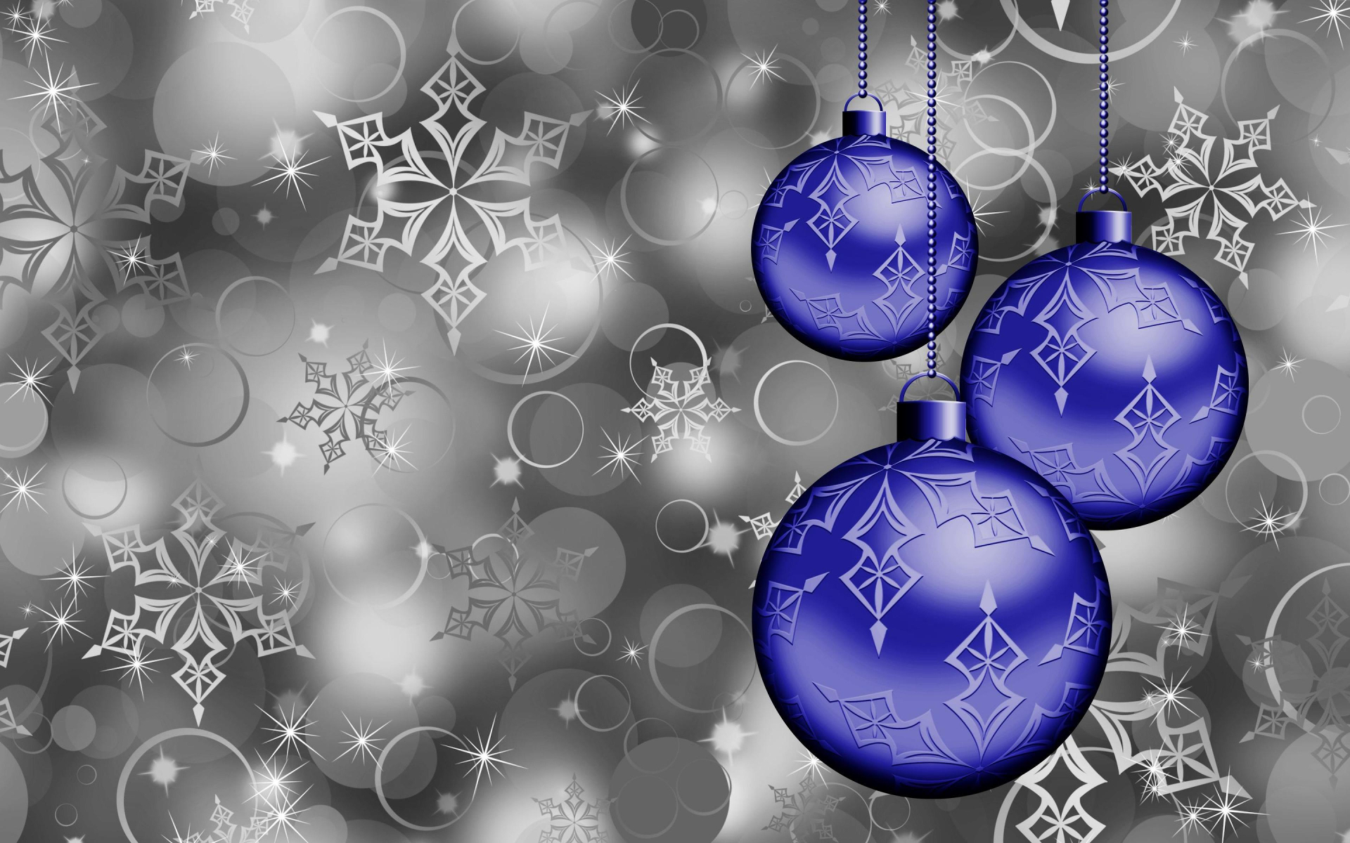 Blue Christmas Ornaments Full HD Wallpaper And Background Image