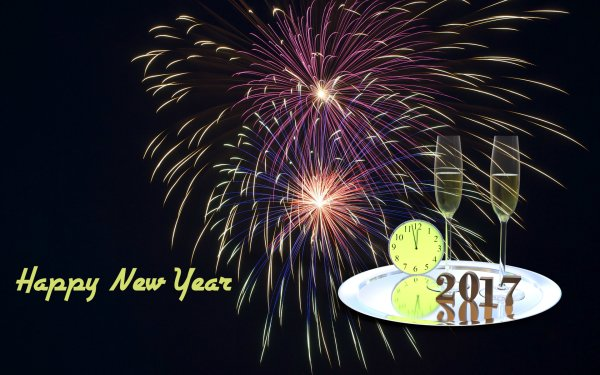 Holiday New Year 2017 Fireworks Clock HD Wallpaper | Background Image
