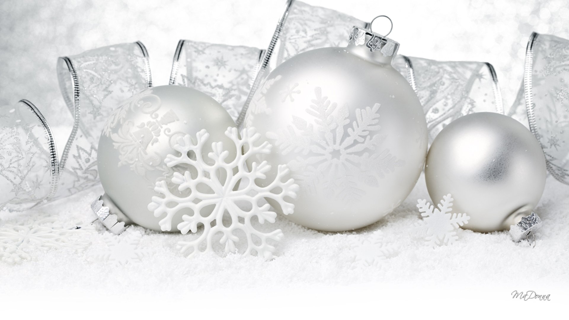 White and Silver Christmas Ornaments Full HD Wallpaper and