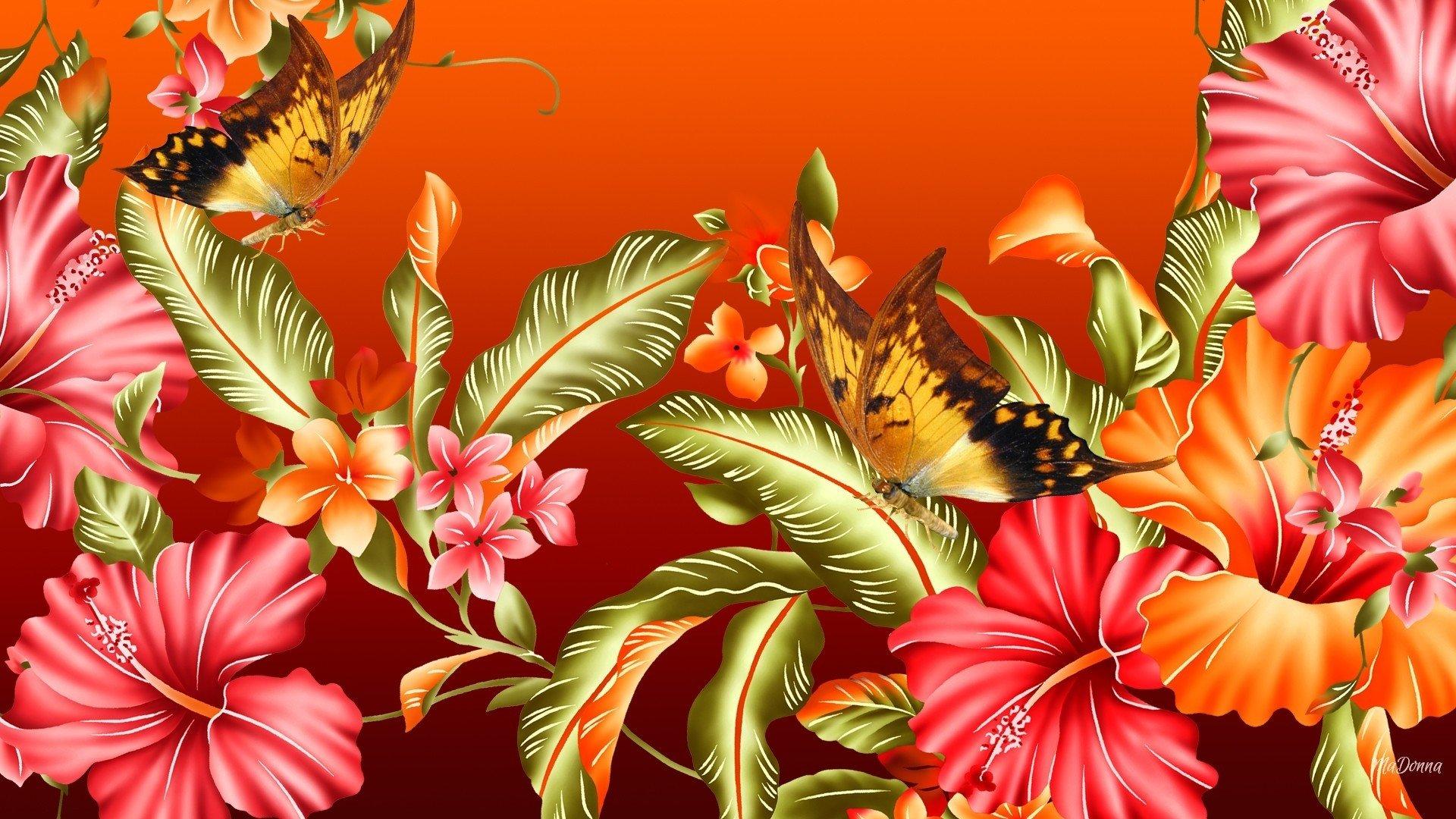 Artistique - Papillon  Artistique Fleur Couleurs Colorful Fond d'écran