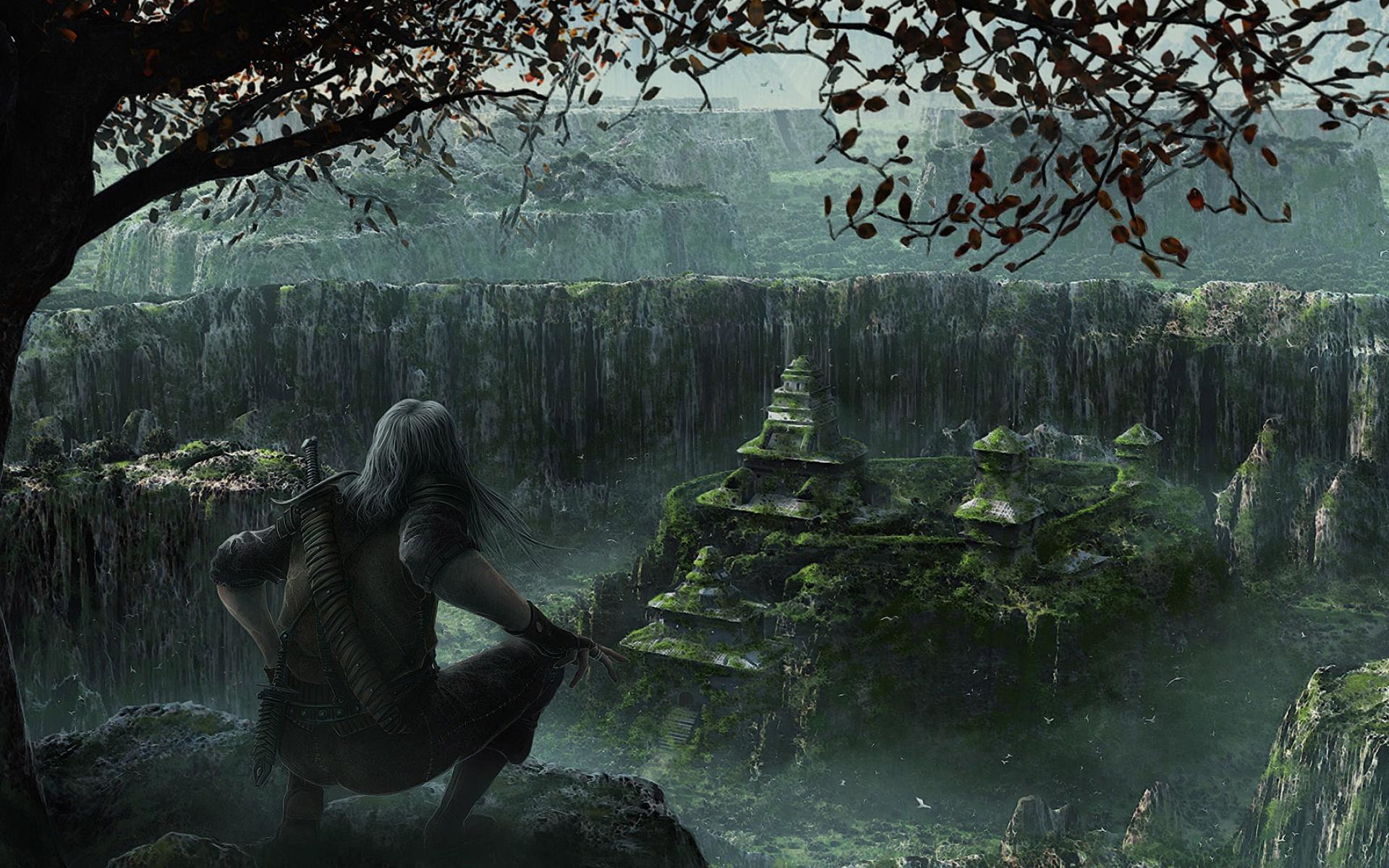 Artistic - Human  Sword Aztec Artistic City Rain Man Fantasy Art Wallpaper