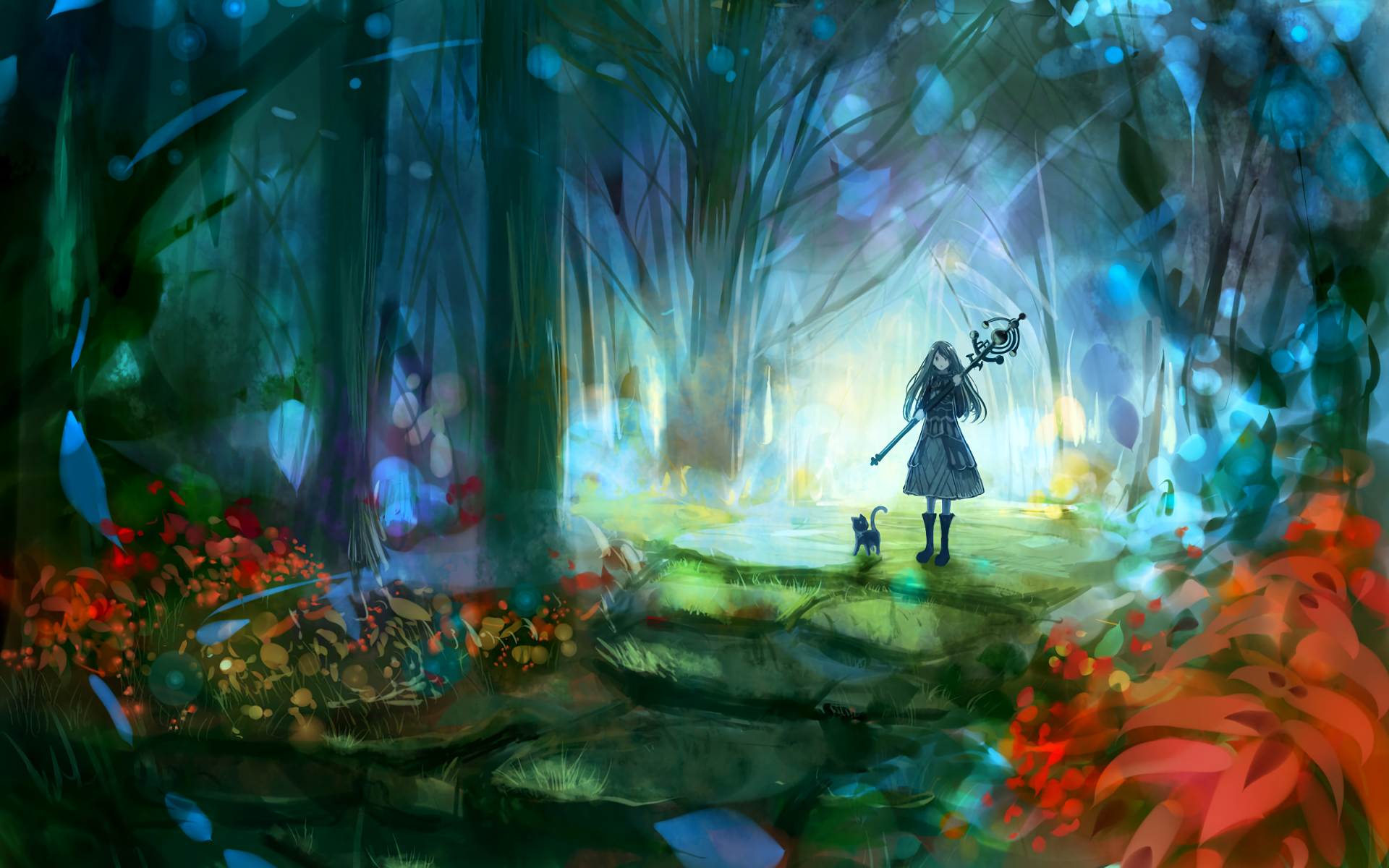 Anime - Original  Forest Cat Girl Staff Wallpaper