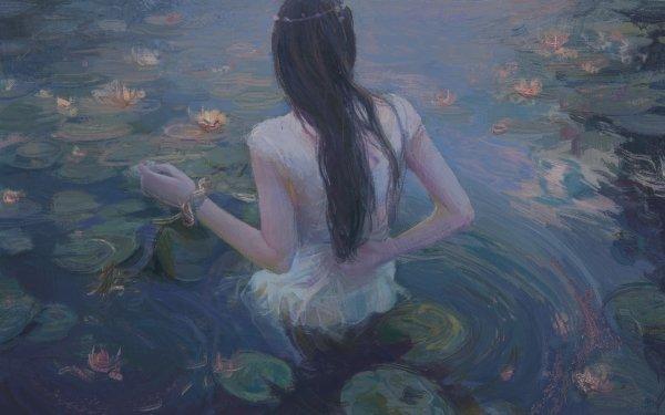 Fantasy Women Water Water Lily Long Hair Black Hair HD Wallpaper | Background Image
