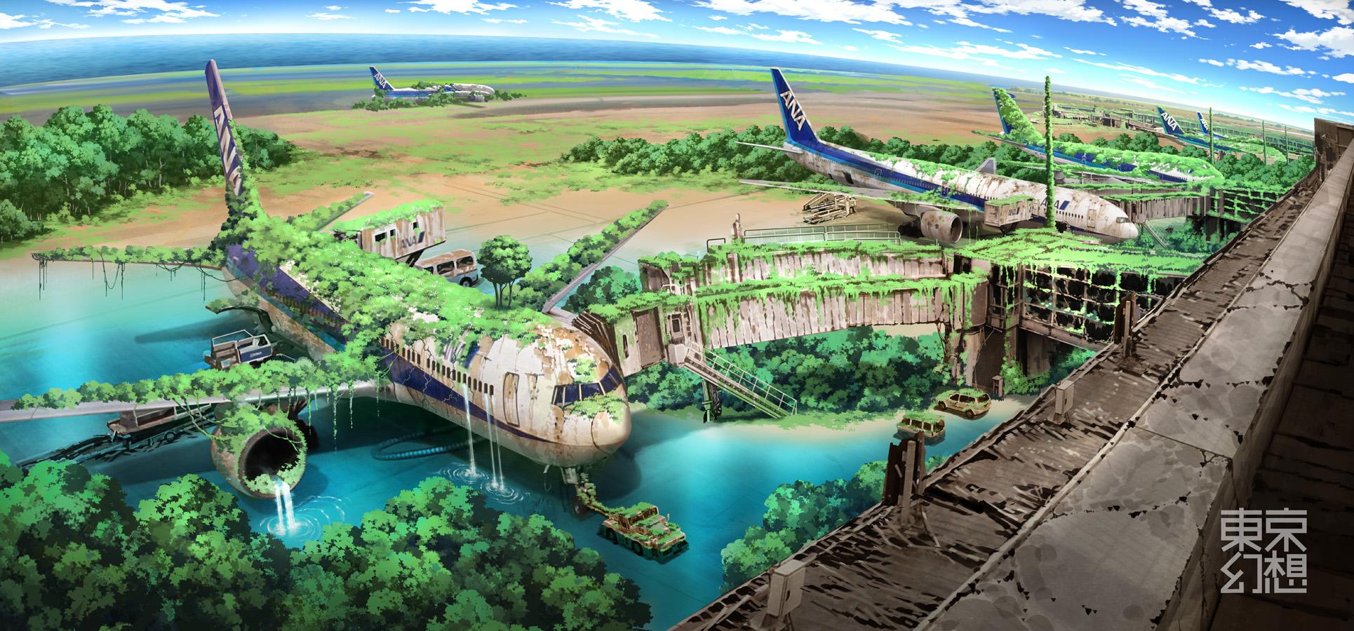 Ciencia Ficción - Escenario Apocalíptico  Bosque Hierba Agua Jet Airplane Airport Fondo de Pantalla