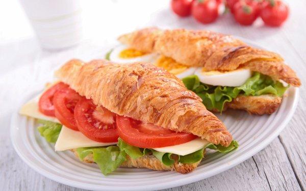 Alimento Sándwich Croissant Tomate Huevo Ensalada Fondo de pantalla HD | Fondo de Escritorio