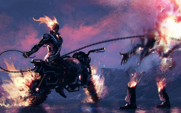 Comics Ghost Rider Marvel Comics Fire Chain Motorcycle HD Wallpaper   Background Image