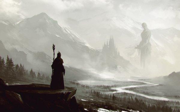 Fantaisie Magicien Staff Paysage Géant Montagne Brouillard Fond d'écran HD | Arrière-Plan