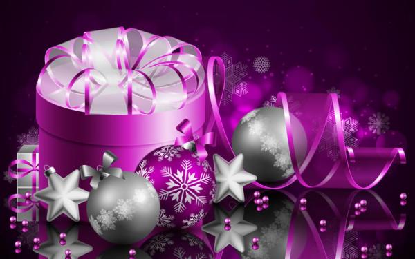 Holiday Christmas Purple Silver Gift Christmas Ornaments Ribbon HD Wallpaper | Background Image