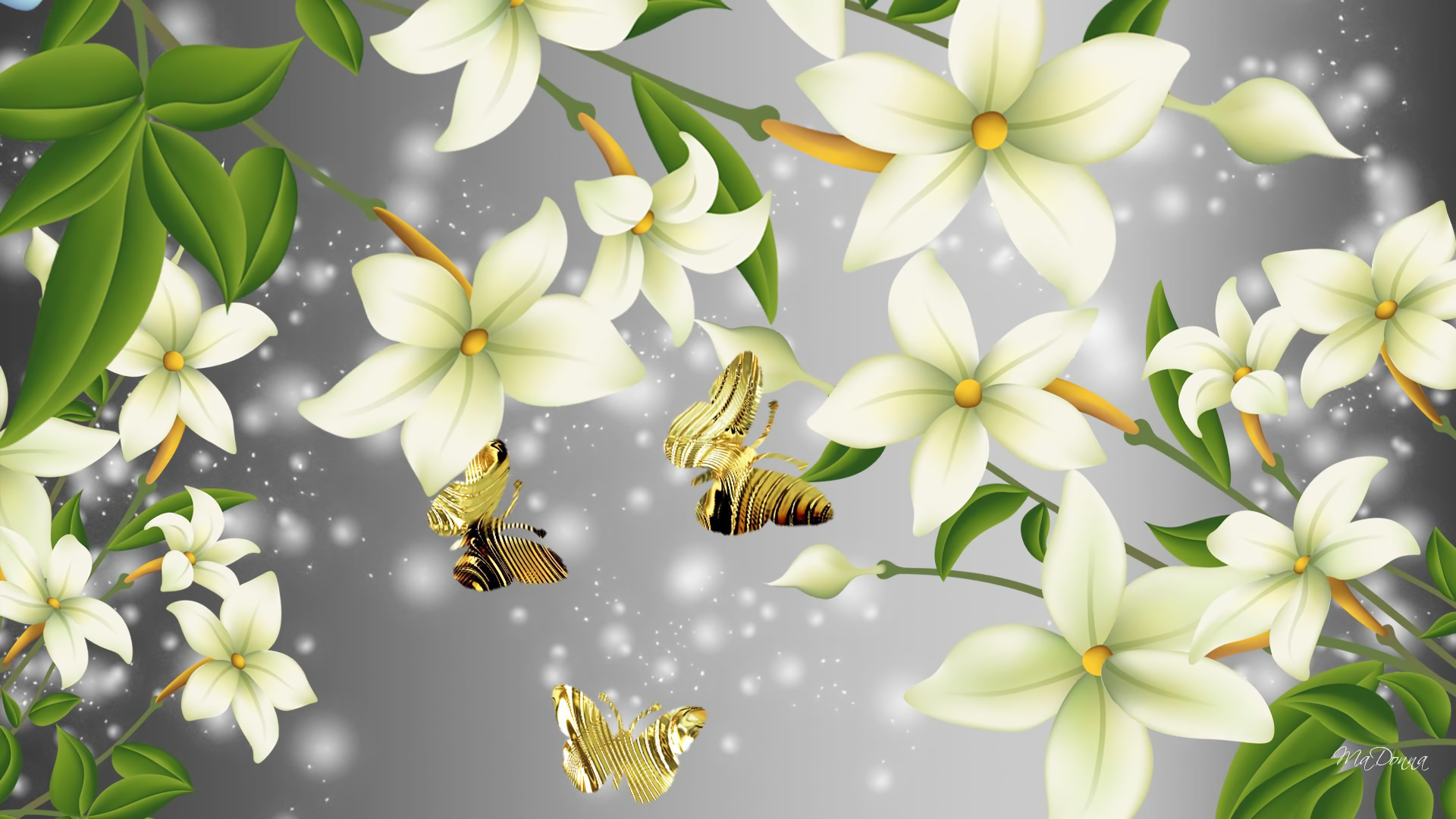 Flowers and Butterflies HD Wallpaper | Background Image ...