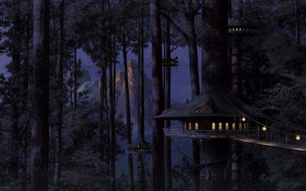 Fantasía Bosque Árbol Montaña Fondo de pantalla HD | Fondo de Escritorio