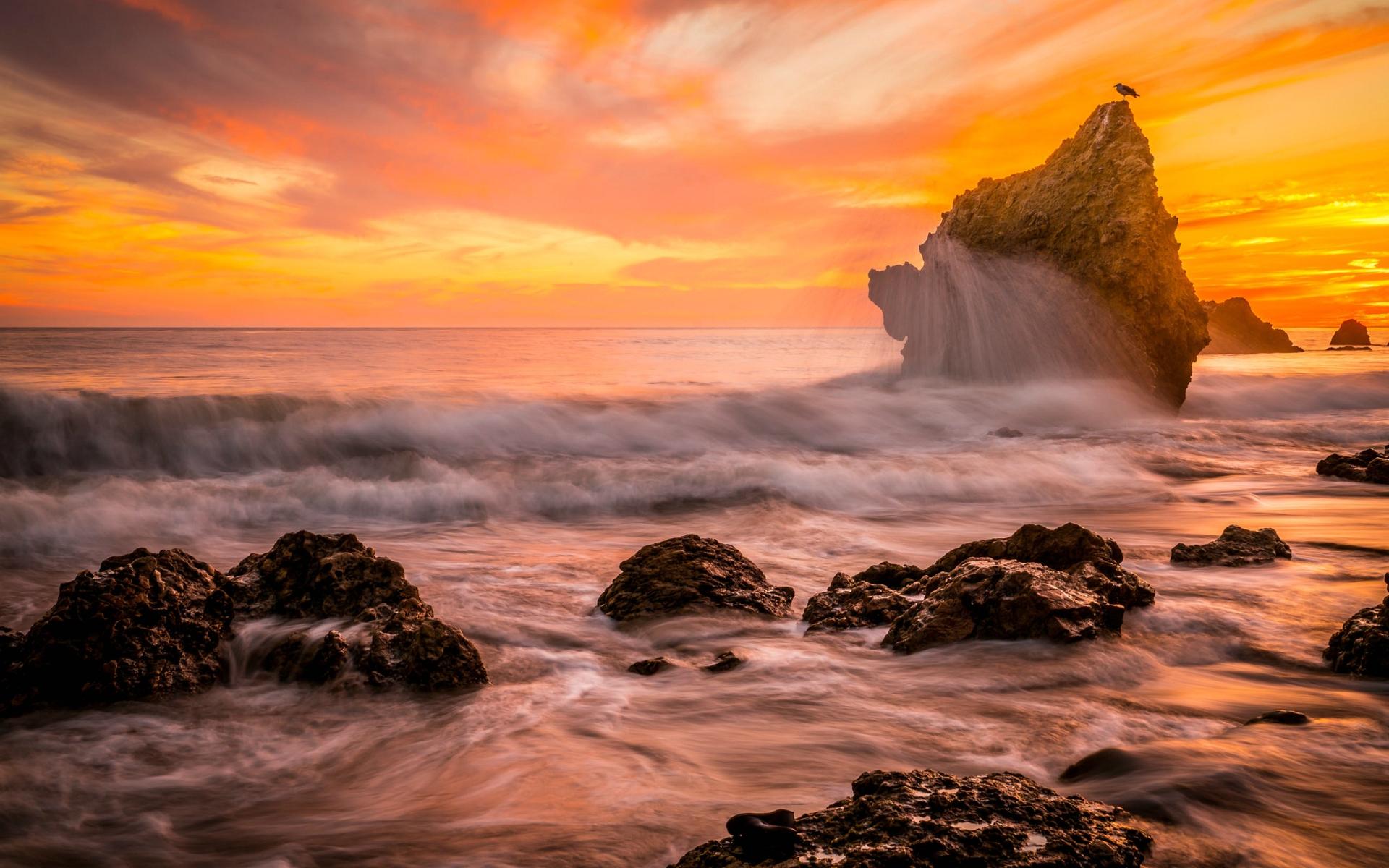 Wallpaper Rocky Beach Desktop Wallpapers: Rocky Beach At Sunset HD Wallpaper