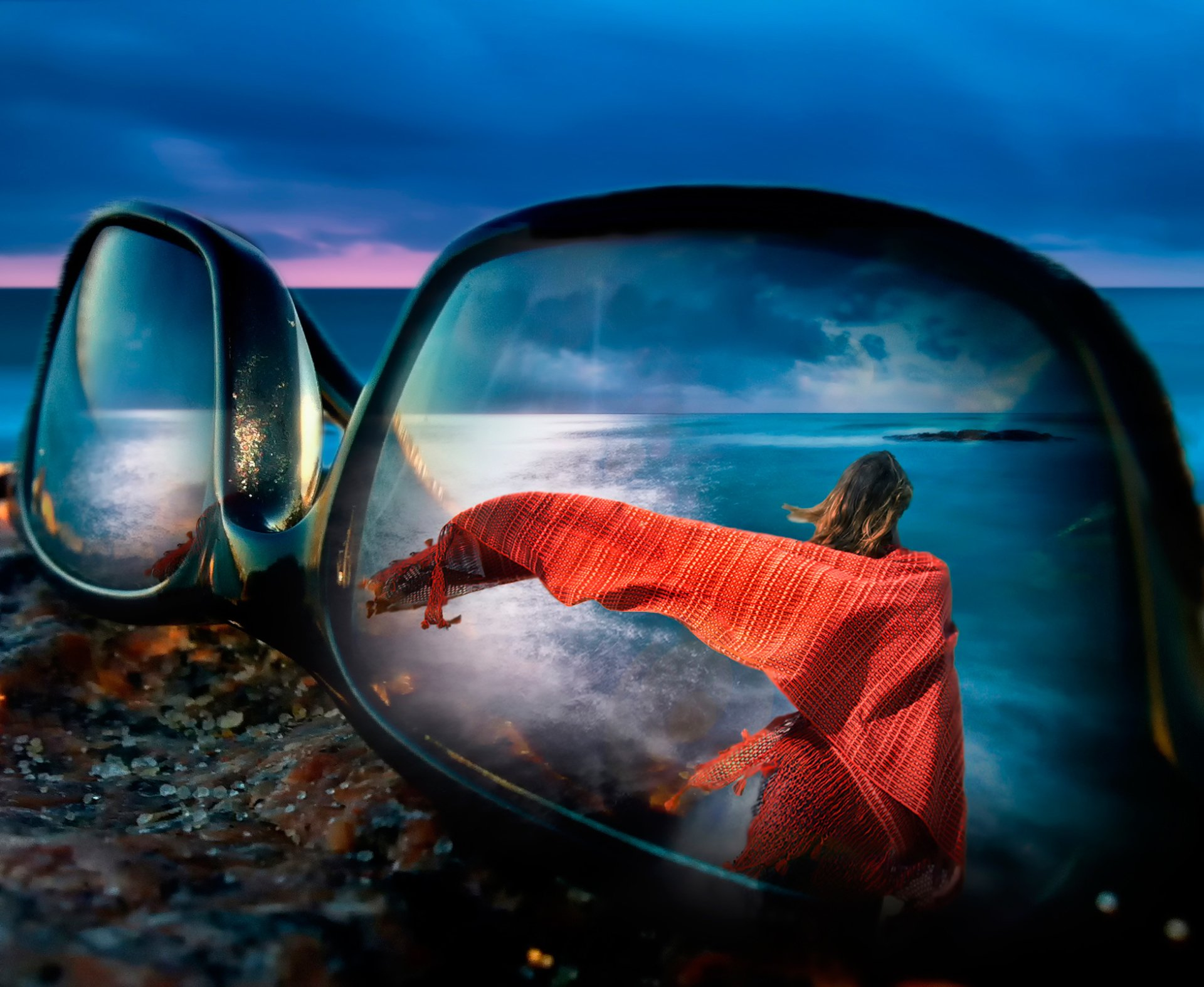 Man Made - Sunglasses  Woman Ocean Reflection Sky Manipulation Wallpaper
