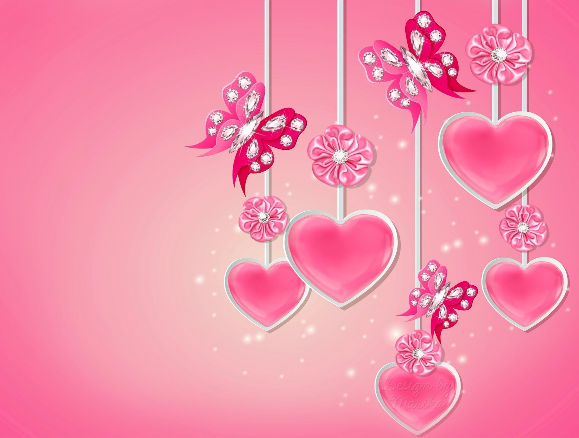 Pink Hearts And Butterflies Hd Wallpaper Background Image