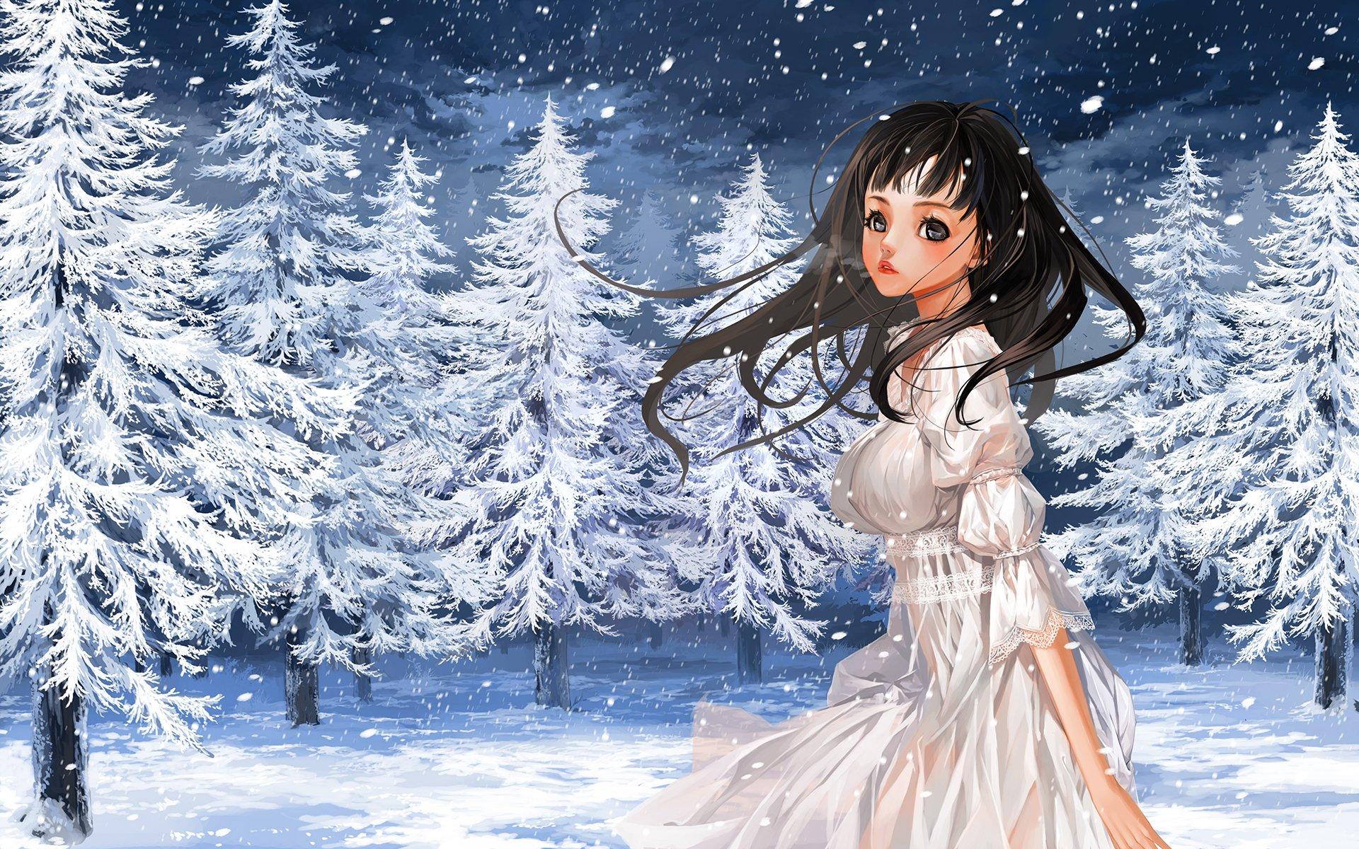Anime girl in winter forest hd wallpaper hintergrund - Winter anime girl wallpaper ...