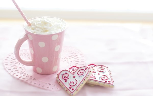 Food Hot Chocolate Drink Cookie Heart-Shaped Pink Cream HD Wallpaper | Background Image