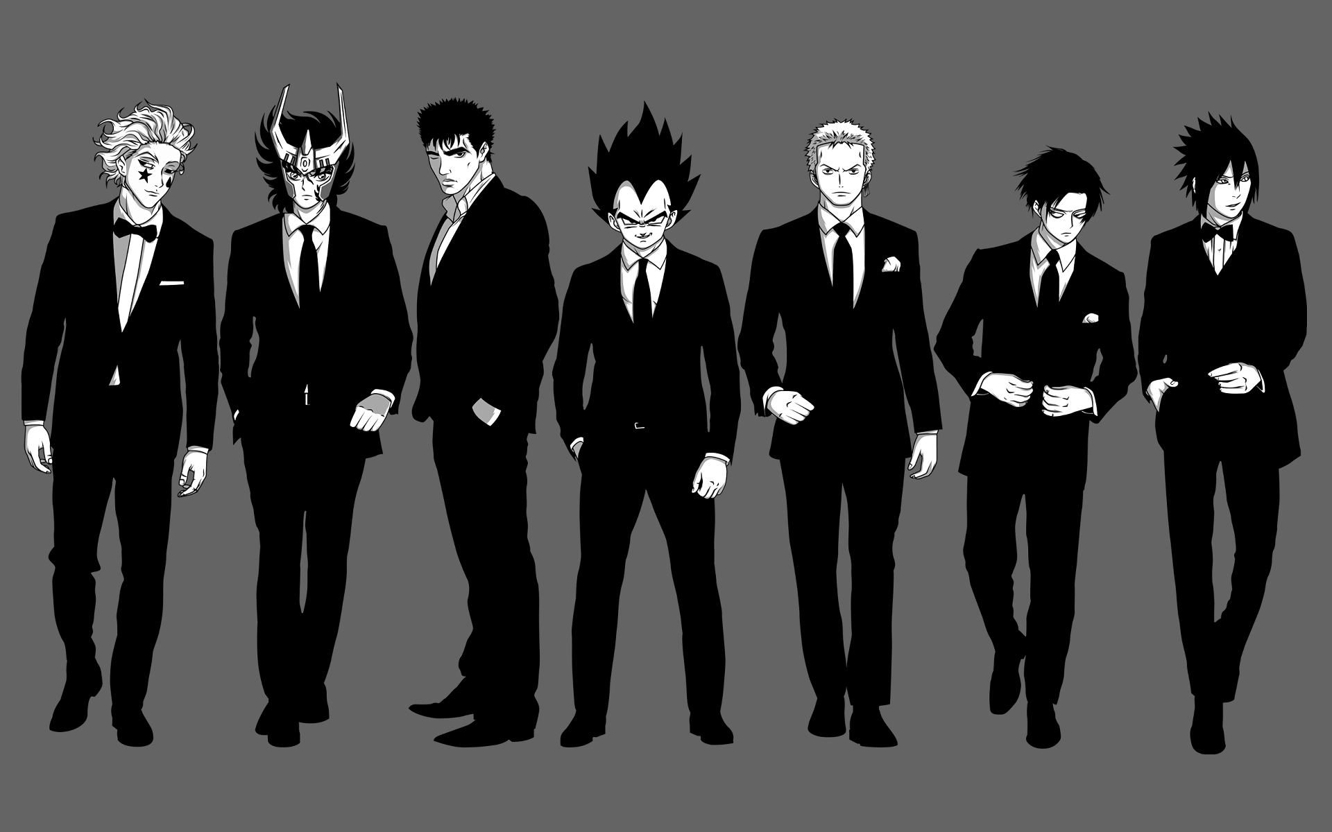 Anime - Crossover  Sasuke Uchiha Levi Ackerman Zoro Roronoa Vegeta (Dragon Ball) Hisoka (Hunter × Hunter) Naruto Attack on Titan Shingeki No Kyojin Dragon Ball One Piece Berserk Guts (Berserk) Saint Seiya Hunter × Hunter Wallpaper