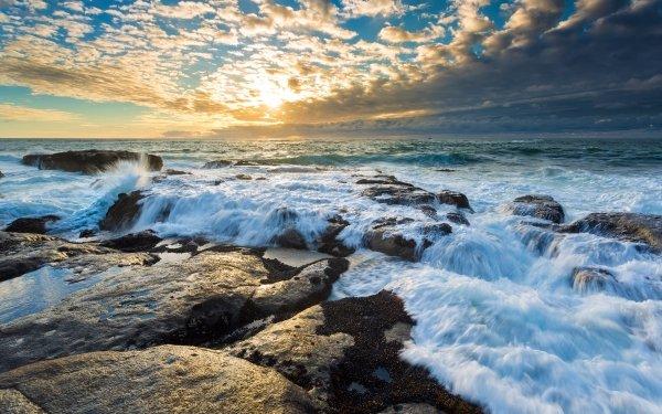 Earth Ocean Seascape Rock Horizon HD Wallpaper | Background Image
