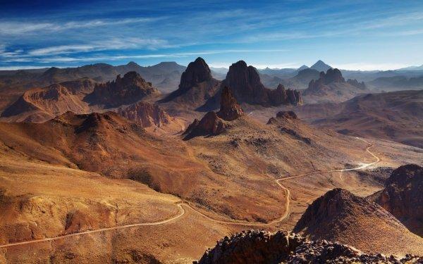 Earth Mountain Mountains Algeria Africa Assekrem Tassili N'Ajjer Hoggar Mountains Road Rock HD Wallpaper   Background Image