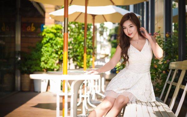 Women Asian Woman Model Brunette Brown Eyes Depth Of Field White Dress HD Wallpaper | Background Image