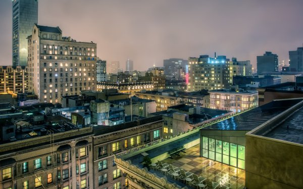 Man Made Rooftop City Cityscape San Francisco Night HD Wallpaper   Background Image