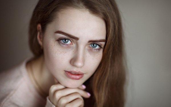 Women Face Model Blue Eyes Freckles Brunette HD Wallpaper | Background Image