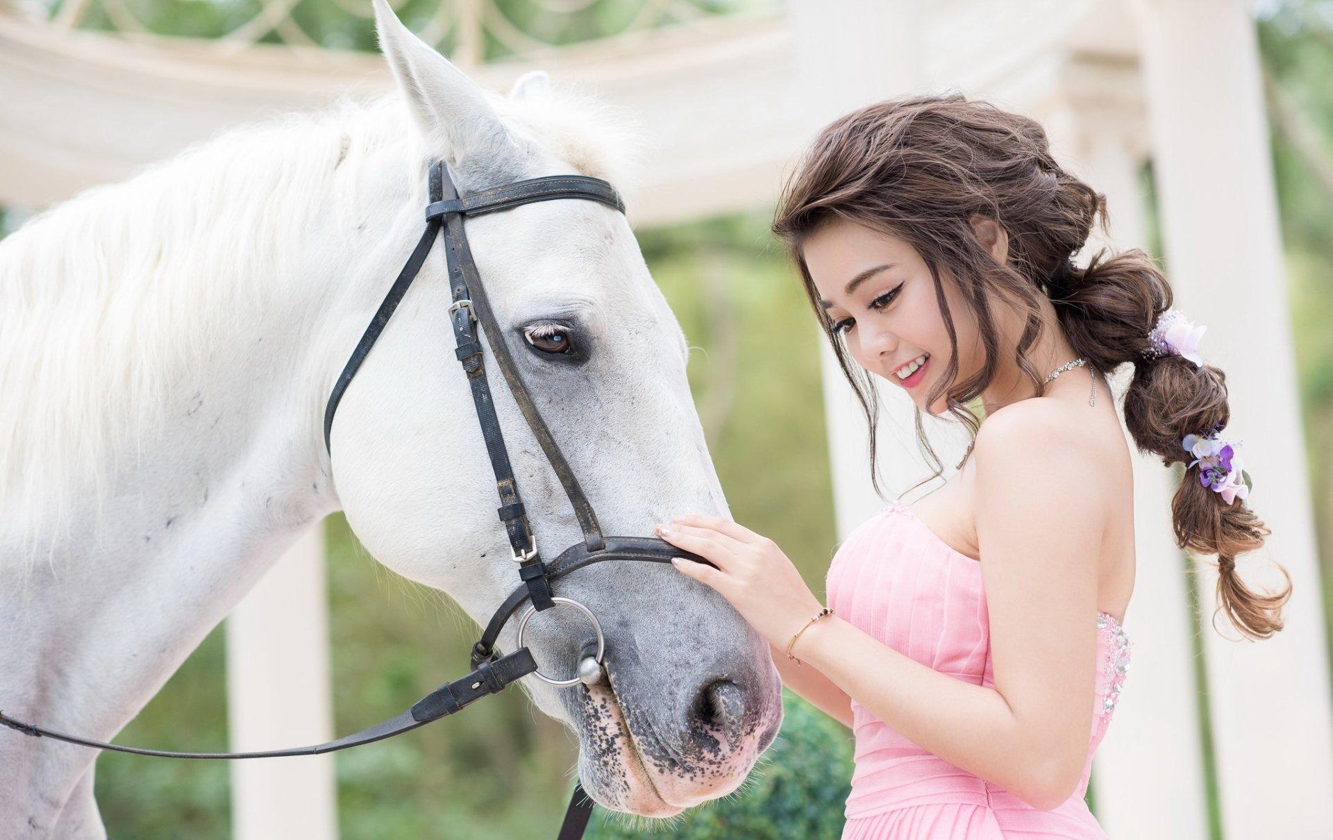Women - Asian  Woman Model Girl Brunette Horse Brown Eyes Braid Smile Pink Dress Wallpaper
