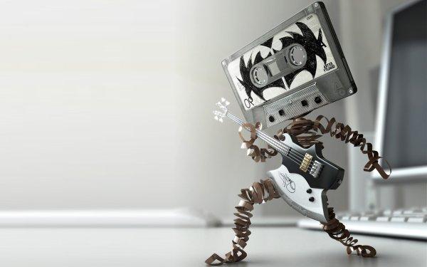Humor Weird Music Guitar Cassette HD Wallpaper | Background Image