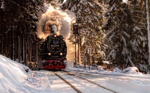 Vehicles Train Locomotive Winter Smoke Snow HD Wallpaper | Background Image