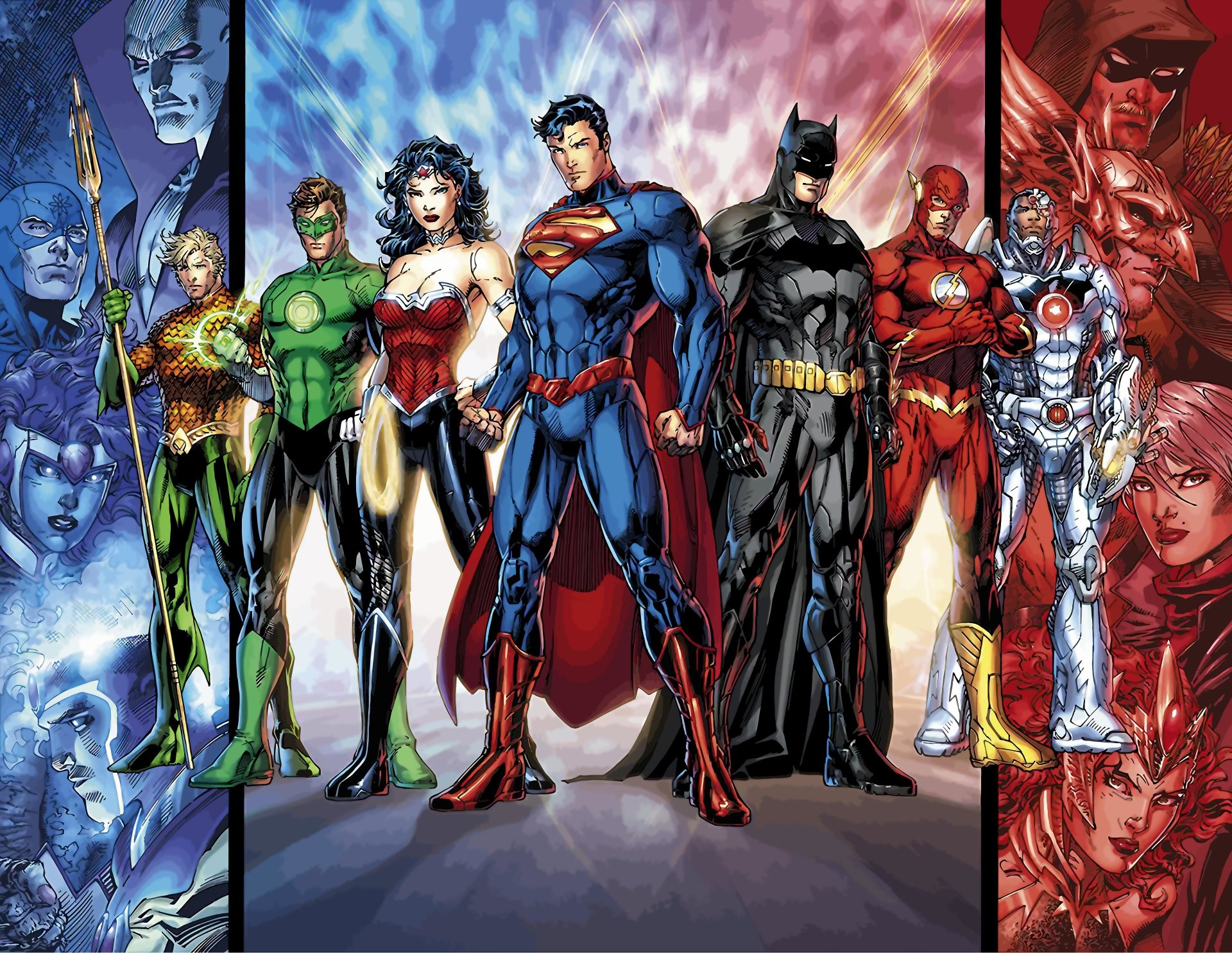 Comics - Justice League  DC Comics Superman Batman Flash Cyborg (DC Comics) Wonder Woman Green Lantern Aquaman Wallpaper