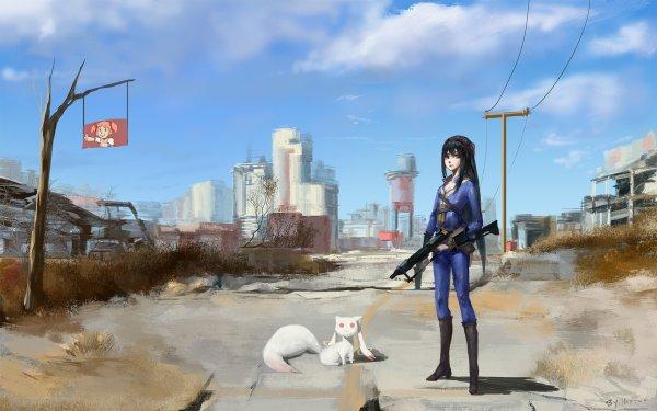 Video Game Crossover Homura Akemi Kyuubey Madoka Kaname Fallout Puella Magi Madoka Magica HD Wallpaper | Background Image