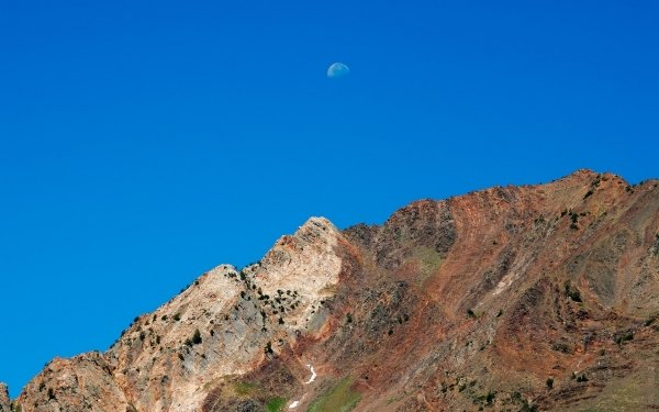 Earth Mountain Mountains Photography Landscape Sandstone Moon Blue Sky Version HD Wallpaper | Background Image