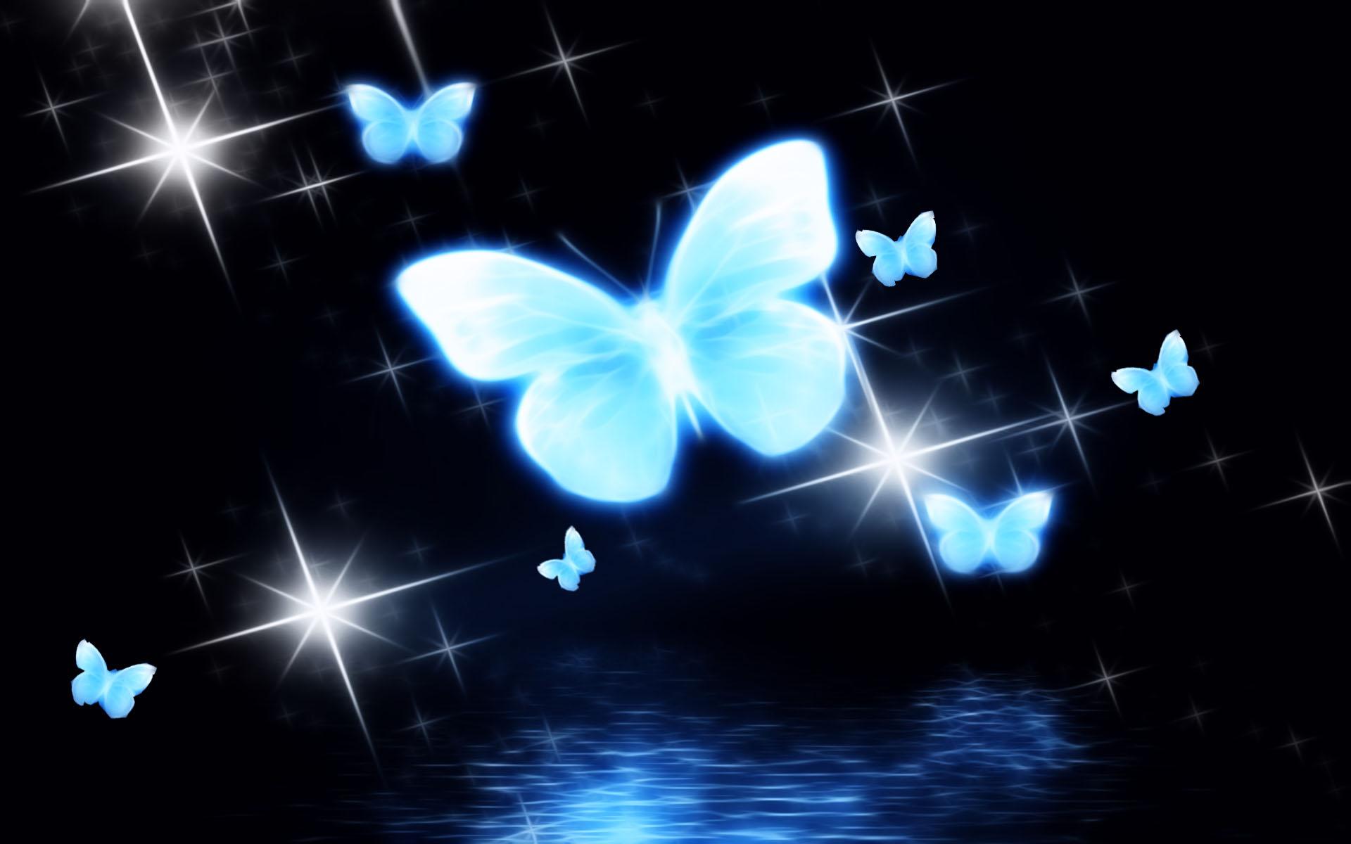 Neon Blue Butterflies Hd Wallpaper Background Image 1920x1200