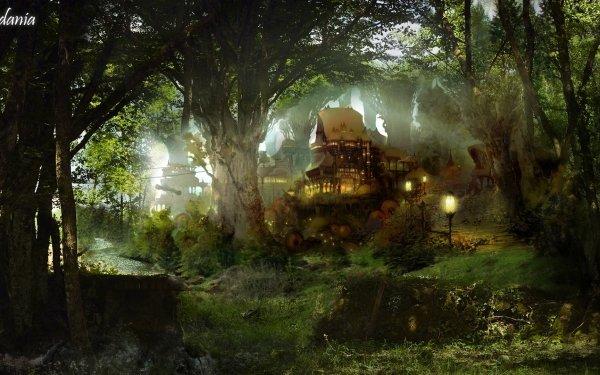 Artistic House Fantasy Cottage Forest HD Wallpaper | Background Image