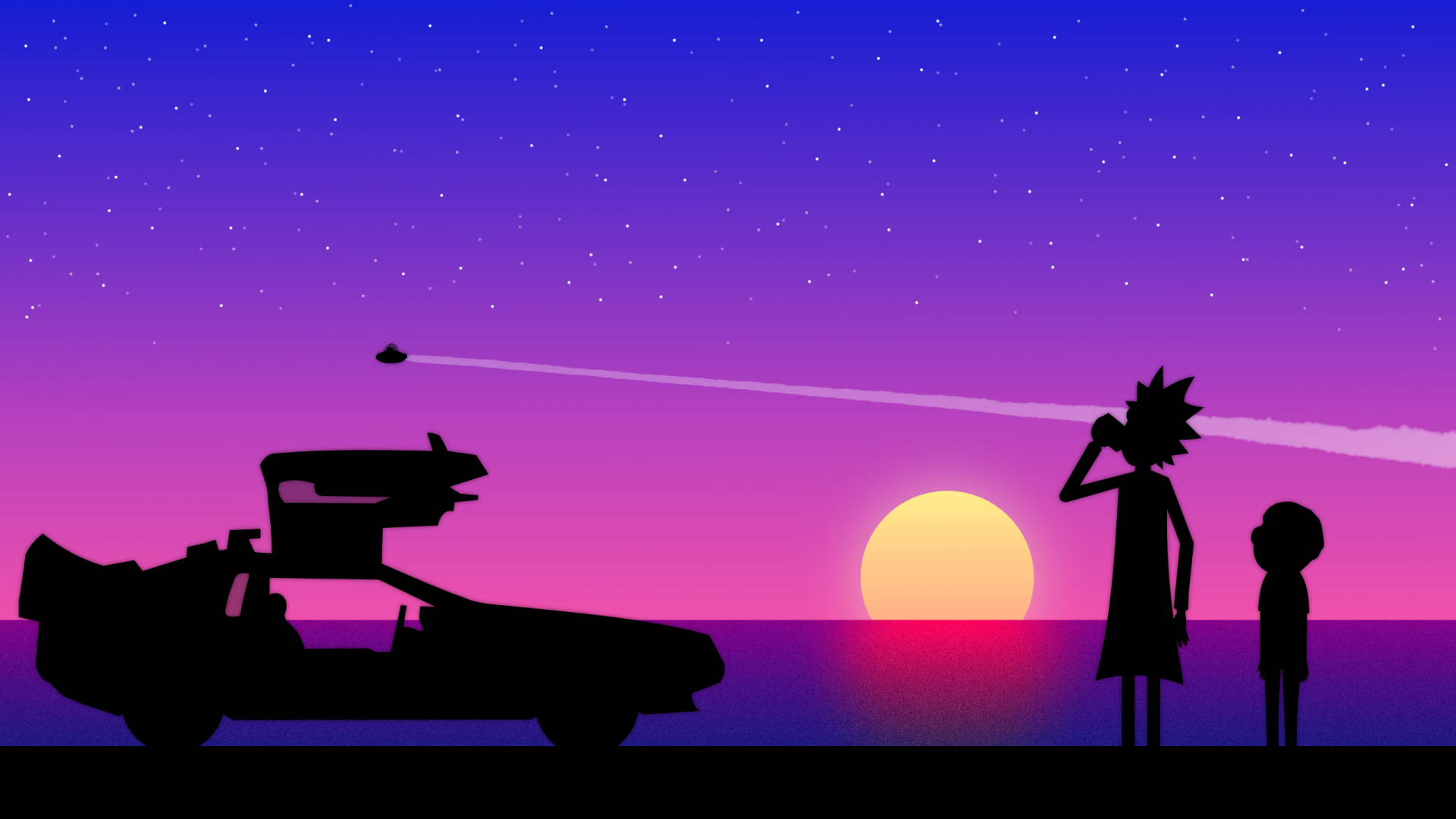 Cartoon - Rick and Morty  Rick Sanchez Morty Smith Purple Vector Car Sunset Wallpaper