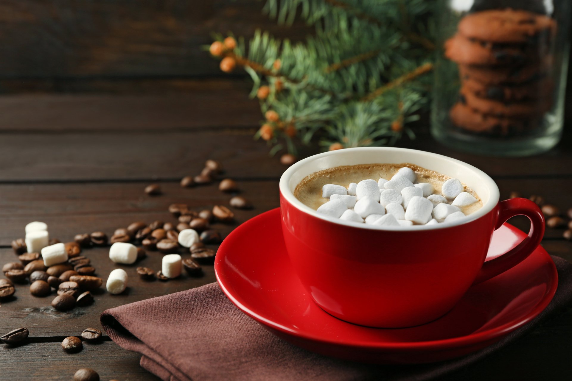 Food - Hot Chocolate  Coffee Beans Cup Marshmallow Wallpaper