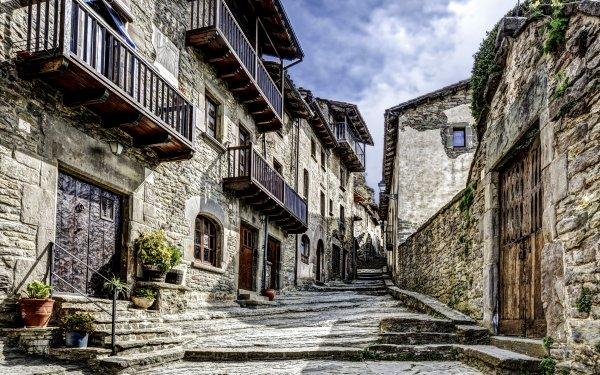 Man Made Village House Spain Catalonia Street HD Wallpaper | Background Image