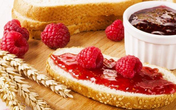 Food Breakfast Bread Jam Raspberry Fruit Berry HD Wallpaper | Background Image