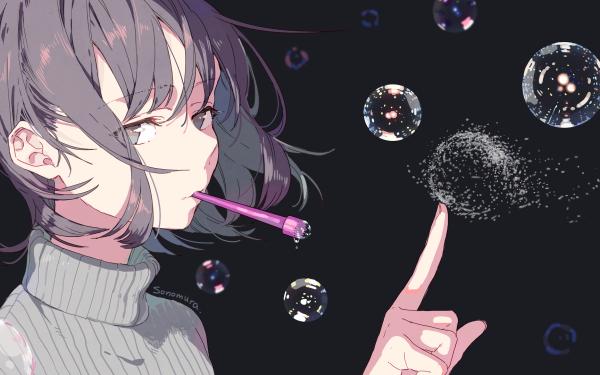 Anime Original Bubble Face Grey Hair Grey Eyes Short Hair HD Wallpaper | Background Image