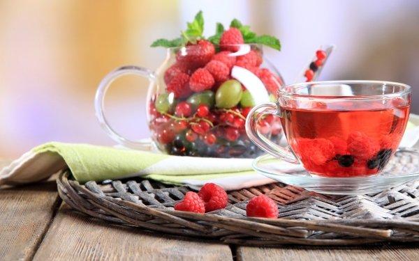 Food Tea Cup Fruit Berry Raspberry Teapot HD Wallpaper | Background Image