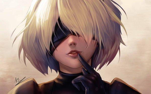 Video Game NieR: Automata YoRHa No.2 Type B Short Hair White Hair Blindfold HD Wallpaper | Background Image