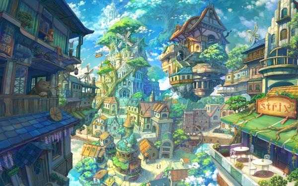 Anime Original Pueblo Fondo de pantalla HD | Fondo de Escritorio