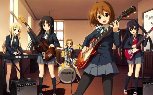 Anime K-ON! Mio Akiyama Ritsu Tainaka Yui Hirasawa Tsumugi Kotobuki Azusa Nakano Brown Hair Brown Eyes Short Hair School Uniform Skirt Pantyhose HD Wallpaper   Background Image