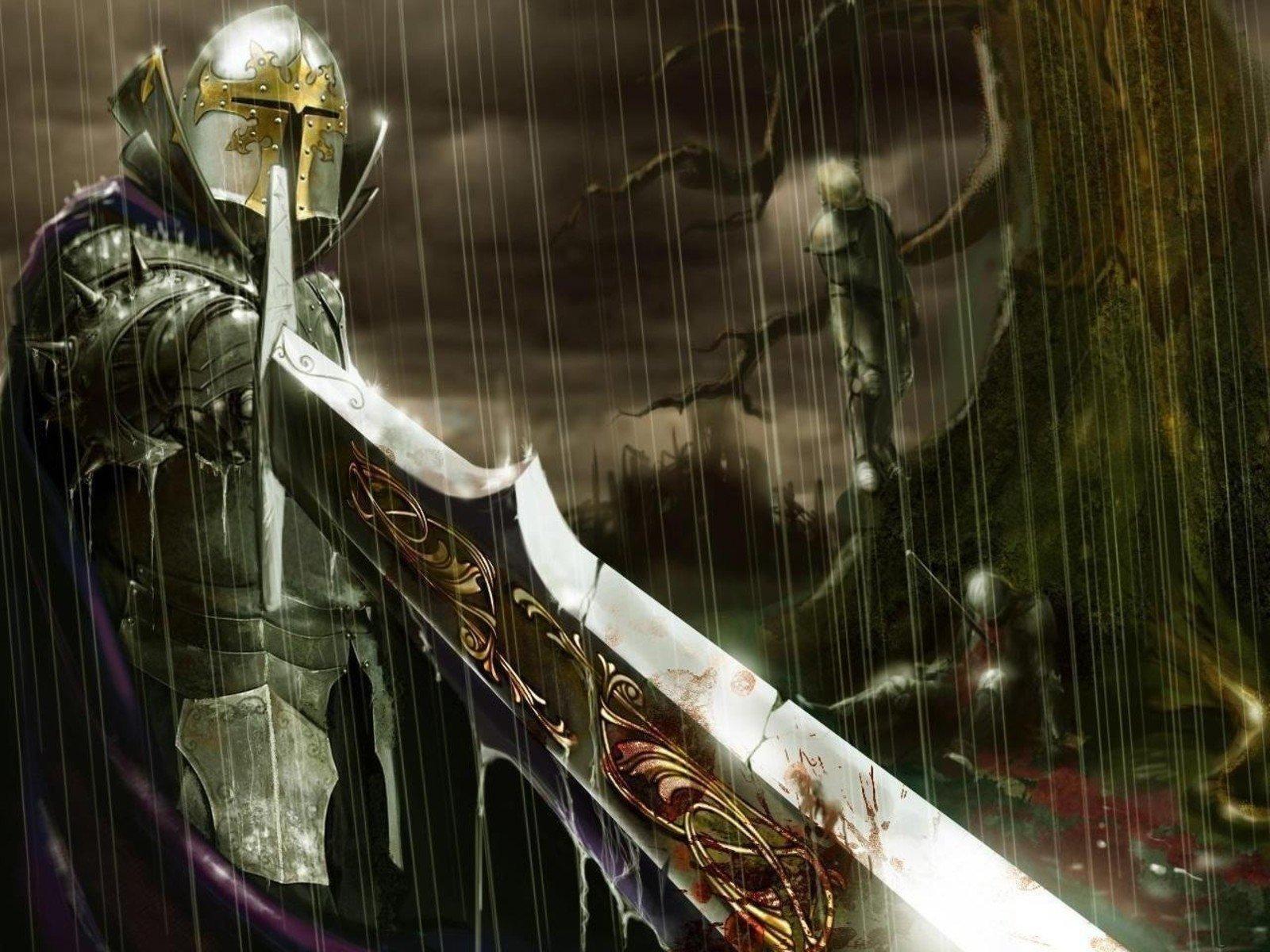 Fantaisie - Chevalier  Epée Pluie Hellgate London Sombre Fond d'écran